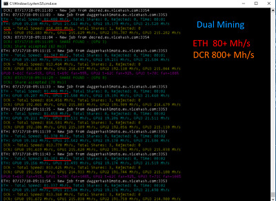24 hours ETH Miner 80+ MH/s rent (all included) + DCR 800+ MH/s