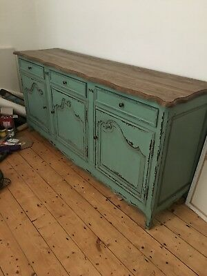 Sideboard shabby chic pale green distressed paintwork solid oak top