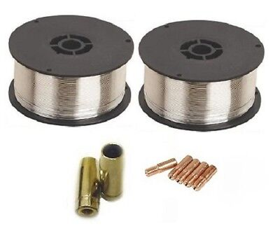 2 x 0.9Kg 0.9mm Gasless (Flux Cored) Mig Welding Wire (M5/MB14 Tips and Shrouds)