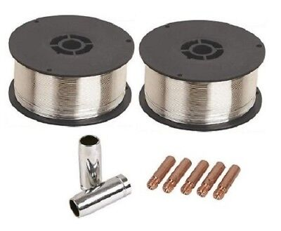 2 x 0.9Kg 0.9mm Gasless (Flux Cored) Mig Welding Wire (M6/MB15 Tips and Shrouds)