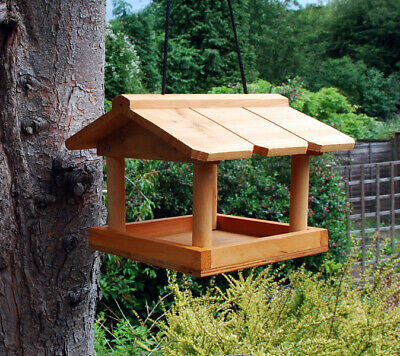 Kingfisher Wooden Hanging Bird Feed Table Garden Feeding Seed Station Wild Birds