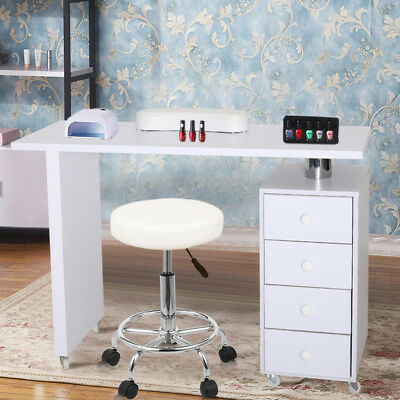 White Manicure Nail Table Salon Manicurist Workstation Desk w/4 Drawer and Wheel