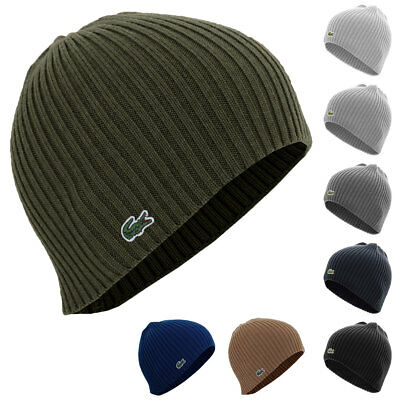 Lacoste Mens RB3504 Single Color Ribbed Beanie Winter Hat 27% OFF RRP