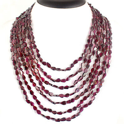 332.00 Cts Earth Mined Untreated Red Garnet Genuine Beads Single Strand Necklace