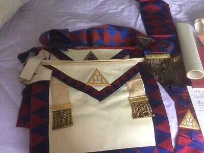 nice old job lot masonic book 3 apron 2 sash certificates and briefcase African