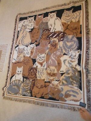 "Goodwin Weavers 100% Cotton Cat Blanket/throw/rug-Fringed-Very Good-48"" X 58"""