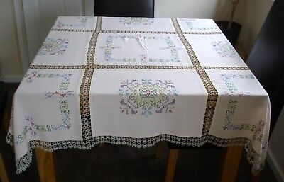 Vintage Hand Embroidered Cross Stitch Inserts & Crochet Lace Panels Tablecloth
