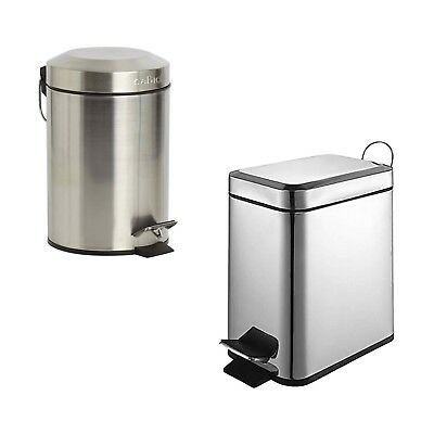 Sabichi 3L Round Pedal Bin OR 5L Slim Line Pedal Bin Brushed Stainless Steel NEW