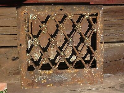 Antique Victorian Ornate Cast Iron Wall Floor Grate Vent Register Salvage Home