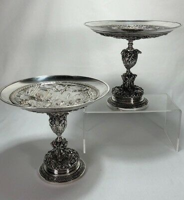 Pair of Museum Quality Silver / Copper Tazza Bowl Compotes Roman Nude Scenes