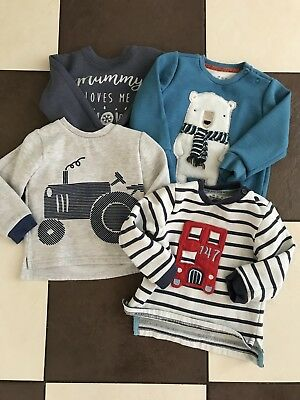 boys clothes size 18-24 months Jumper Bundle Autumn Winter Blue Tractor Bus Bear
