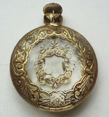 VRare c1913 SOLID GLASS gilt POCKET WATCH medical cure all PREMIUM Stanley #1173