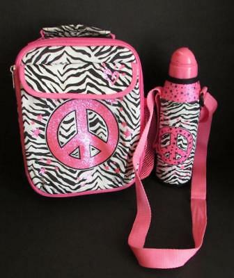 JUSTICE Lunch Box and Thermos Set - Black & White Zebra Stripe Pink Peace Symbol