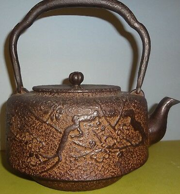 SCARCE Mid-19th Century ORIENTAL CAST IRON TEAPOT signed COMPLETE-CHERRY BLOSSOM