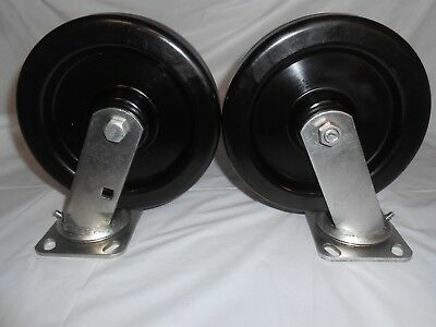 "SET OF 2 HEAVY DUTY SWIVEL RUBBER WHEEL CASTERS ~ 2"" x 7.75"" ~ WITH GREASE ZERTS"