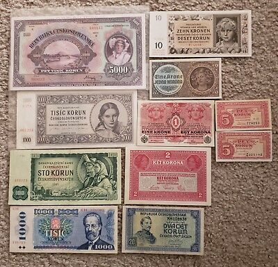 Czechoslovakia banknotes (lot of 11)