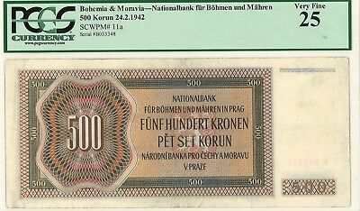 1942 Protectorate (occupation) Bohemia & Moravia 500 Korun (Pick11) - PCGS25