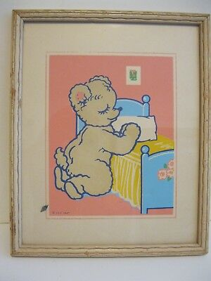 Vintage Magic Picture Infants Specialty Co 1943 Bear Praying By Bed Glow In Dark