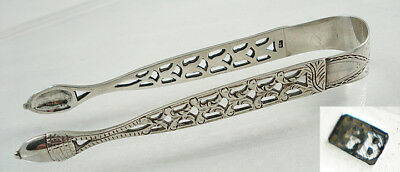 Georgian Pierced Acorn Silver Sugar Tongs Nips.