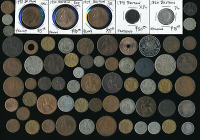 66 Old Uk & Ex-Colony Coins  See Hi-Res Scans (Interesting Odd Lot) No Reserve