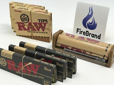 RAW Black Classic 1 1/4 Bundle  ( TIPS, ROLLER, ROLLING PAPER)