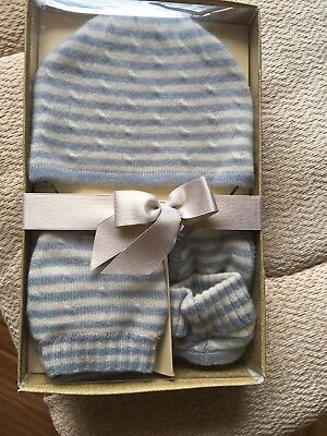 M&S Cashmere Baby Boy Blue & Cream striped Hat, Mittens, Booties, 0-6 mnths age