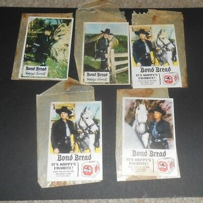 "LOT OF 5 1950's HOPALONG CASSIDY & Topper BOND BREAD CARDS WITH WRAPPERS 3""X2"""