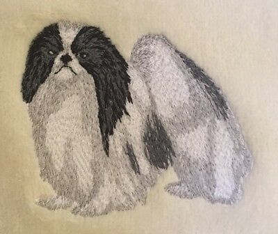 Japanese Chin Hand Towel, Embroidered, Personalized Black and White