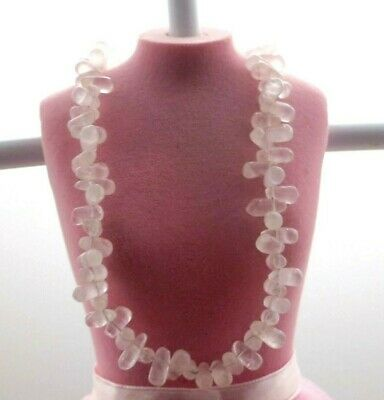 """Quartz Choker Necklace With Large Pink Quartz And Silver 925 Toggle Clasp, 16+"""""""