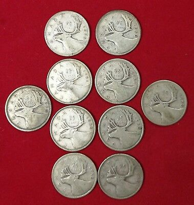 Lot of 10 1940's Canadian Silver 25 Cent Quarter Coins VG to EF WW2