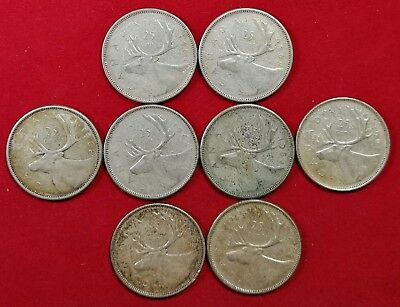 Lot of 8 1960's Canadian Silver 25 Cent Quarter Coins VG to AUNC