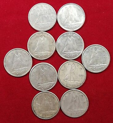 Lot of 10 1965 Canadian Silver Dimes 10 Cent Coins EF to AUNC