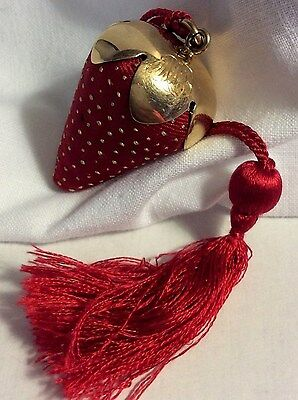 Antique Stern & Co. 14kt  Yellow Gold Monogram Red Strawberry Pin Cushion # 433