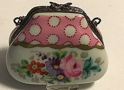 Vintage  Hand Painted Limoges French France Pink Purse Shape Trinket Box