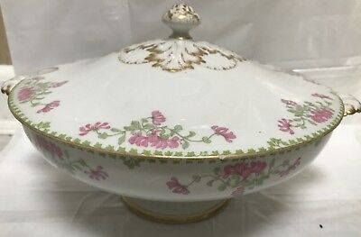 Theodore Haviland Limoges France Covered Dish Serving Bowl Tureen Floral Gold