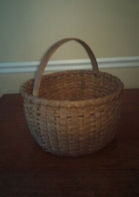 Very Large Old Oak Splint Gathering Basket in Excellent Condition