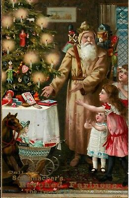 Brown Coated Santa, showing Presents, Candle Tree. Grman Mills Adv. Trade Card