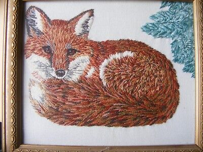 Vintage wool embroidered picture of a Fox