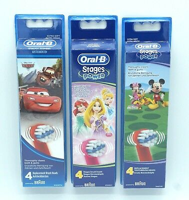 Oral B Stages Power Aufsteckbürsten - Kids - Mickey Mouse - Cars - Princess - 4S