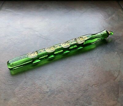 Green Cut Gilt Antique Victorian Perfume Scent Bottle Tear Catcher Lachrymatory