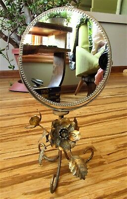 Vintage Italian Tole Toleware Gold Gilt Gilt Swivel 2 Way Vanity Mirror GORGEOUS