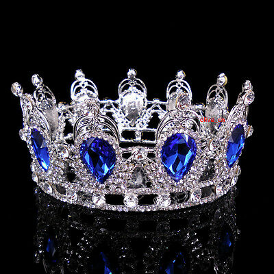 6cm High Sapphire Blue Sparkling Crystal King Crown Wedding Prom Party Pageant