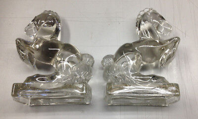 2 Glass Horse Bookends Le Smith