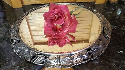 GORGEOUS Antique NOTCHED CUT GLASS Mirror Silver Plateau Tray SIGNED PAIRPOINT!