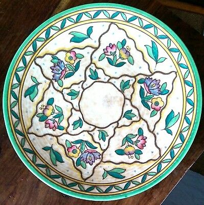 Charlotte Rhead signed Crown Ducal art deco charger design no.6016 32cms wide