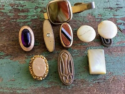 Antique Art Deco and Victorian Lot Tie Clips/pins pearl shell Glass Goldstone