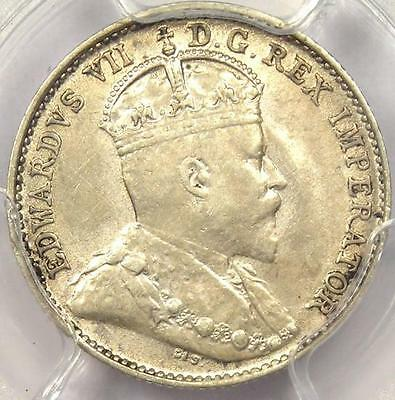 1909 Pointed Leaves Canada Edward 5 Cent Piece (5C) - PCGS AU55 - Rare Variety!