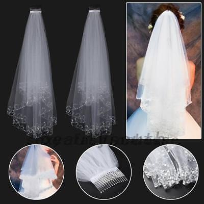 2T White Ivory Sequins Beaded Edge Wedding Bridal Elbow Veil AU Stock IN STOCK