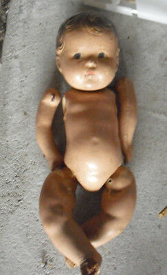 """Vintage 1930s Madame Alexander Composition Baby Boy Doll TLC 7"""" Tall"""