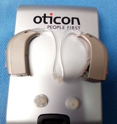 Programming + TWO Oticon Spirit BTE Silver Hearing Aid Behind the Ear BTE